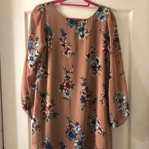 Dresses & Skirts - Tan Floral Sheath Dress